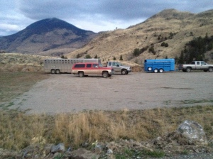 Trailers transporting hunter horses to Cedar Creek Trailhead