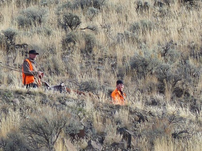 Hunters returning to trail head