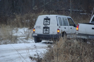Hound truck seen rendezvousing with friendly vehicle in the Polk County forest at various points during our monitoring.