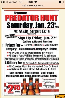 Ad for predator hunt in Forest County January 2016.