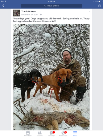 Travis Britten Admitting to illegally killing coyotes.