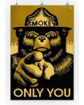 smokey-bear-only-you-halftone-yellow-lantern-press-artwork-24x36-giclee-gallery-print-wall-decor-travel-poster